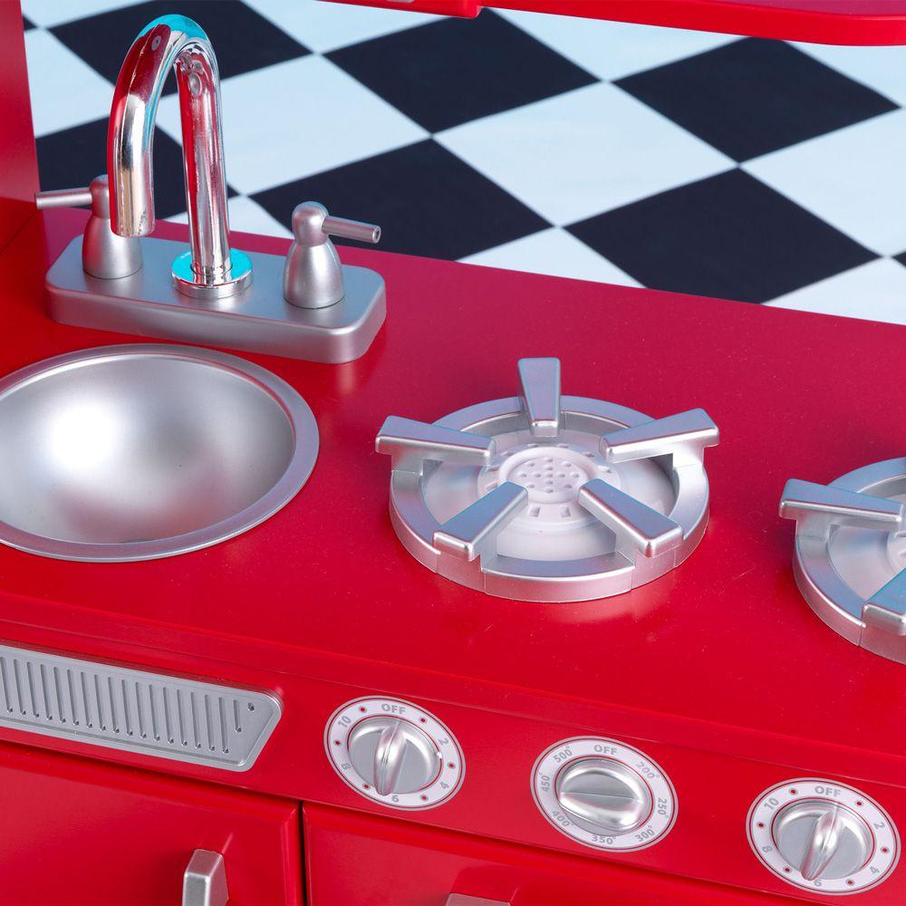 Costco UK - KidKraft Red Vintage Kitchen + 125 Piece Tasty Treats Pretend Food Set (3+ Years)
