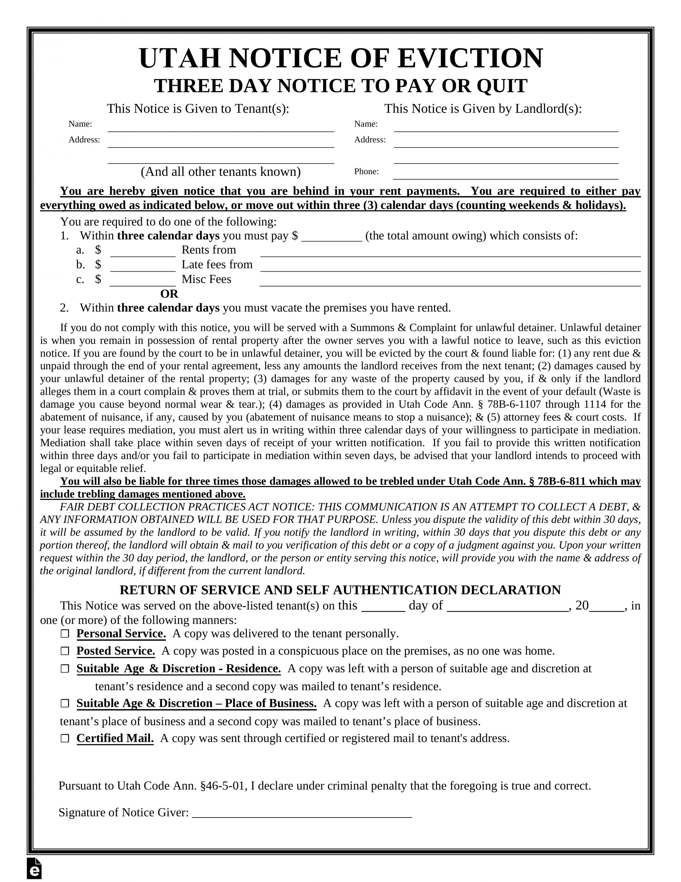 Explore Our Printable Eviction Notice Utah Template In 2020