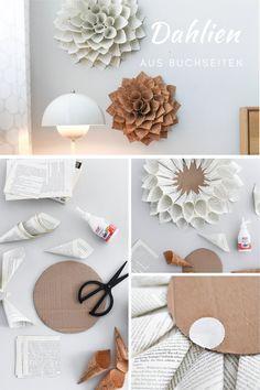 Florales für die Wand: DIY Deko-Dahlien aus Buchseiten und Korkstoff