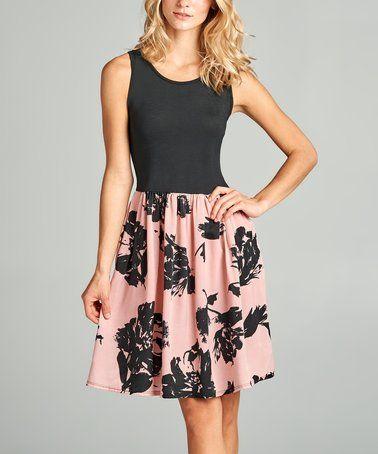 Black & Mauve Floral-Contrast Sleeveless Dress #zulily #zulilyfinds