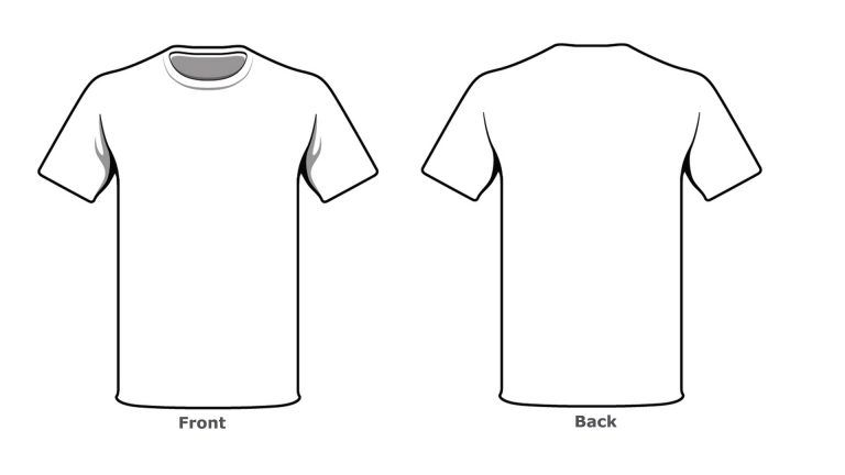 Blank Tshirt Template Front Back Side Kjm Clothing Templates T