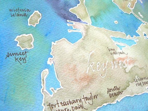 Map Of Watercolor Florida.Key West Florida Map Original Signed Watercolor 11x14 Painting