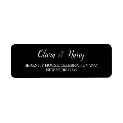Black \ White Wedding Return Address Labels Return address - Return Address Label Template