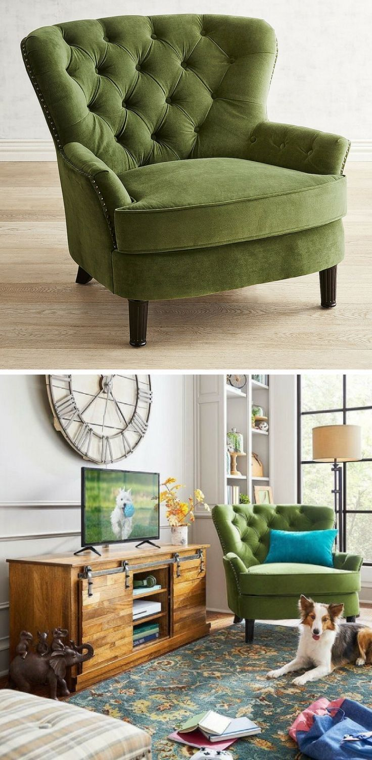 Eliza Forest Velvet Armchair Green Chair