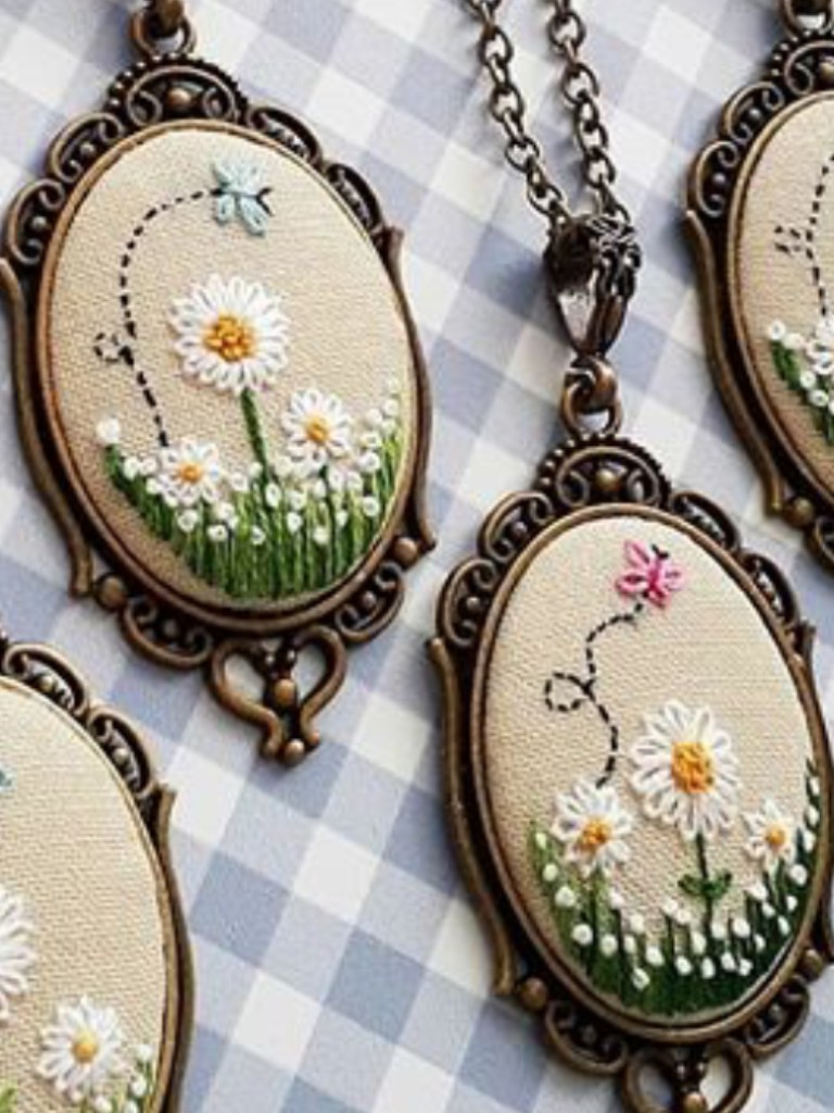Embroidered  pendant with Hand embroidery Embroidered  pendant on the neck Gift for Women pendant with EmbroideredGift for Christmas