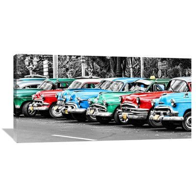 Global Gallery Vintage Cars in Cuba by John Lynn Photographic Print on Wrapped Canvas Size: