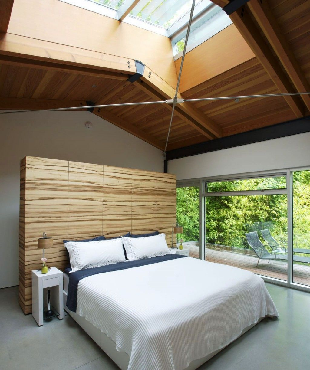 Architecture Modern Plush Bedroom Design With Large Glass Windows And Japanese Maples Accents