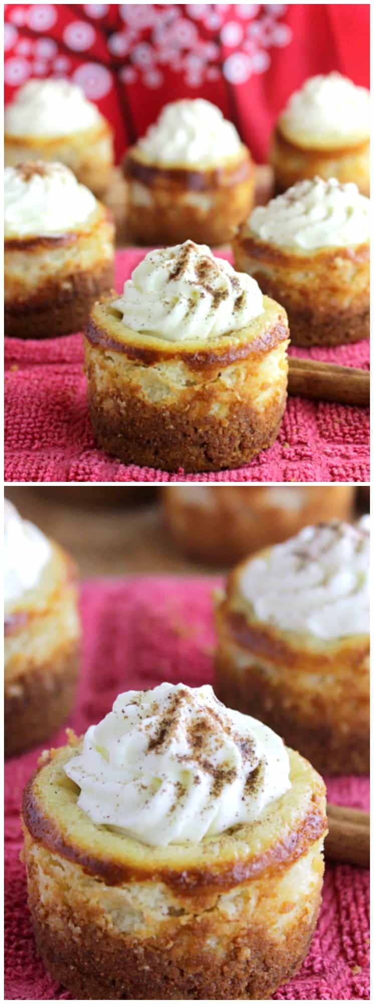 Mini Eggnog Cheesecakes with Gingersnap Crust #eggnogcheesecake