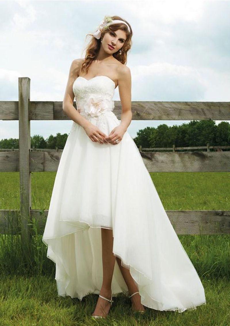 7d9f88009d Latest Design Gorgeous Bridal Gown Chiffon Sweetheart Short Front Long Back  Wedding Dresses