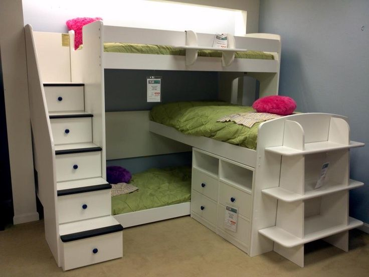 Triple bunk beds with stairs Kids room Pinterest