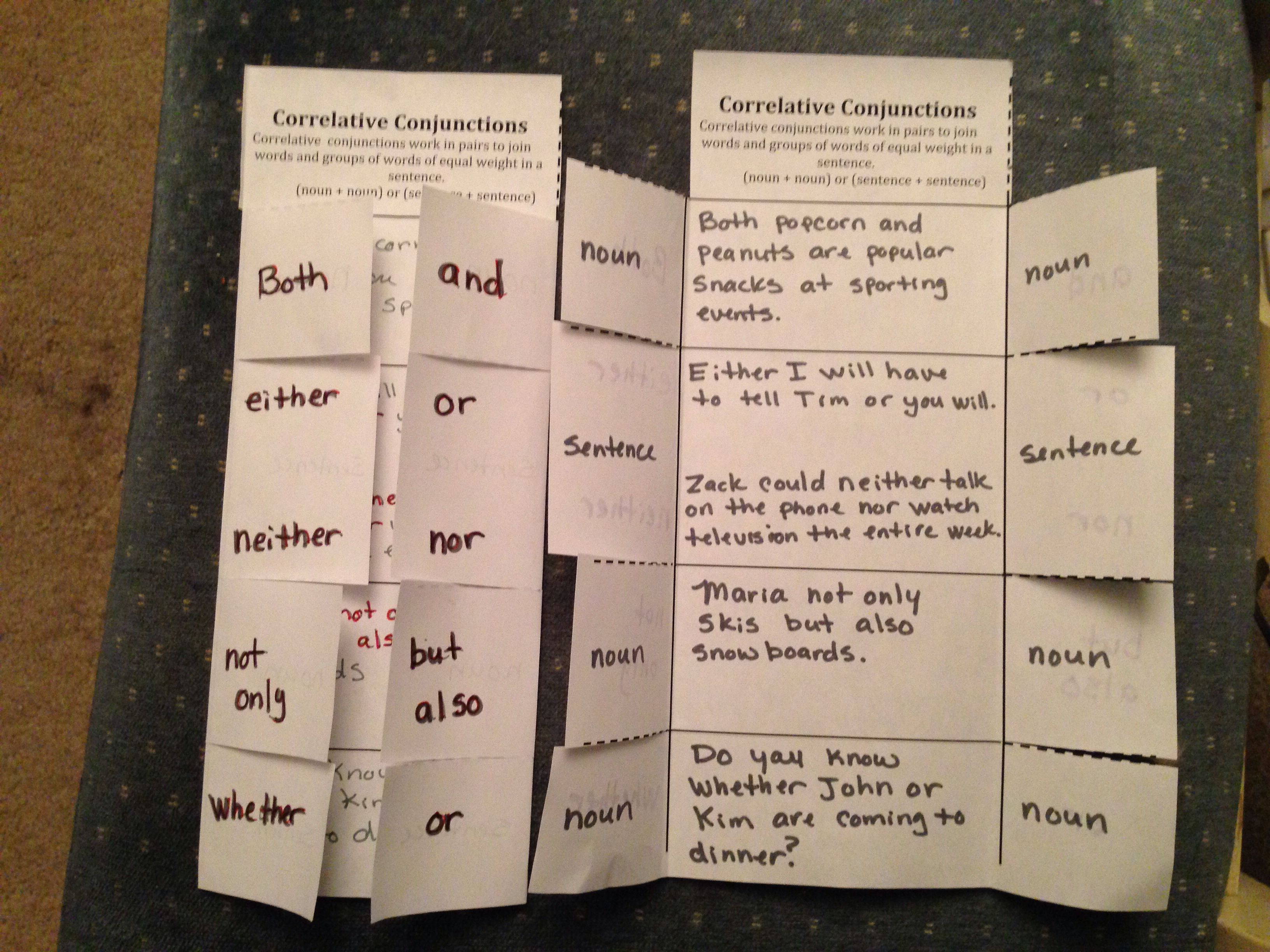 Correlative Conjunction Foldable