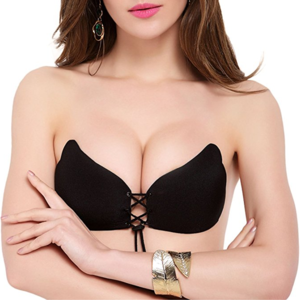 Womens Strapless Invisible Bra Glossy Wing Brushed Bra Silicone Underwear