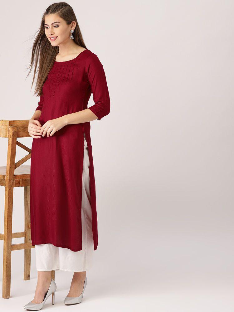 3a90ec5f93 Maroon Solid Rayon Straight Kurta Kurti Designer Ethnic Dress Women Tunic  #fashion #clothing #shoes #accessories #worldtraditionalclothing  #indiapakistan ...