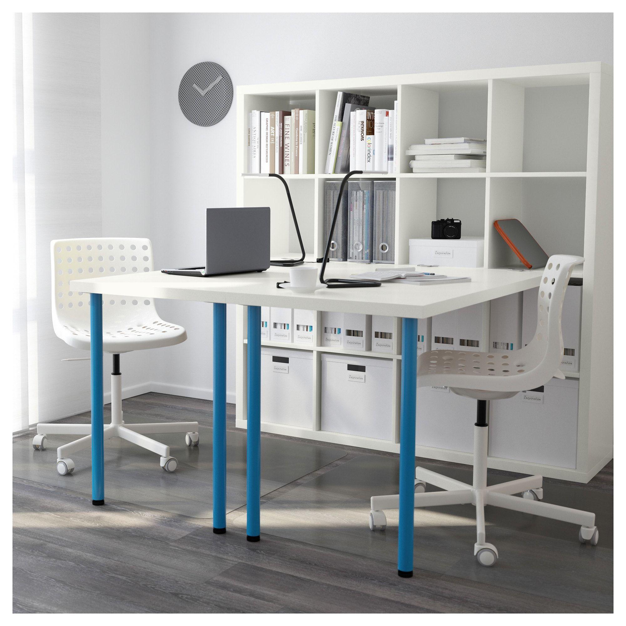 IKEA KALLAX White, Blue Workstation   Ikea kallax desk ...