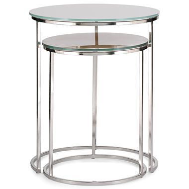 $150 Knox Nesting Side Tables   Jcpenney Brushed Nickel Frame U2022 Smoked  Glass Top U2022 Tables