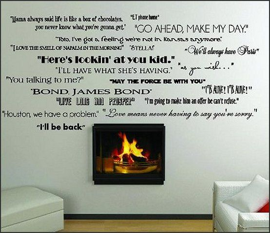 classic movie quotes wall saying wall decals | theater room in 2019