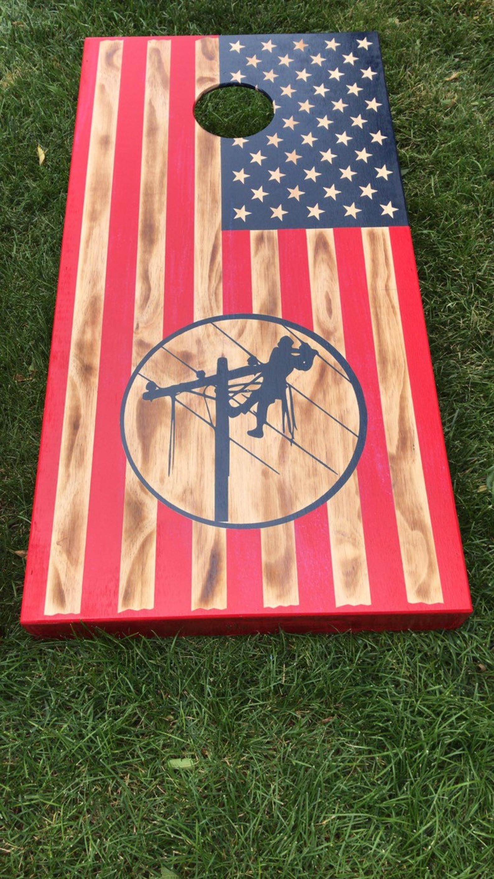 Lineman Flag Cornhole Boards