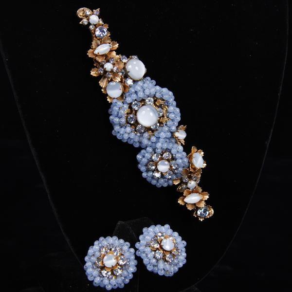 "<b>Miriam Haskell 2pc. Blue Moonstone Brooch/Pin & Clip earrings</b> H 1 3/4"" x W 5 1/8"""