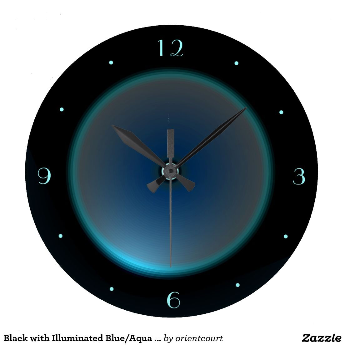 Black with Illuminated Blue/Aqua Face >Wall Clock Wall Clock