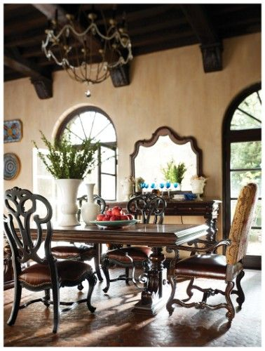 Dining Room Furniture San Diego Costa Del Sol 7Piece Marquetry Dining Table Set  #greathouse