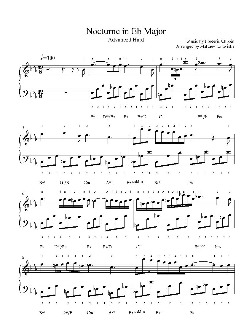 Nocturne In Eb Major By Frederic Chopin Piano Sheet Music