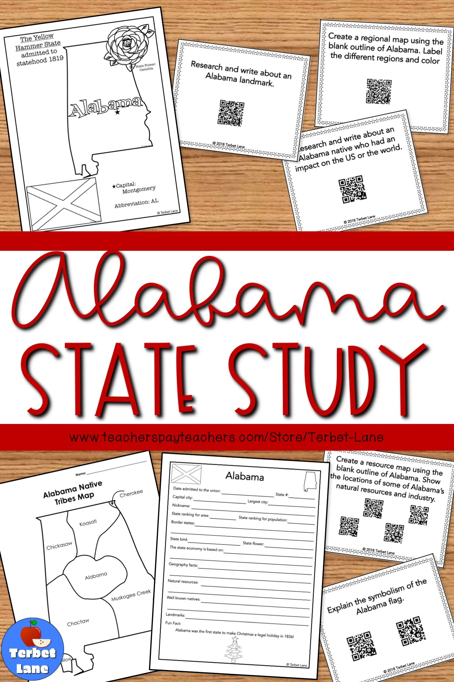 Alabama History And Symbols Unit Study With Qr Codes