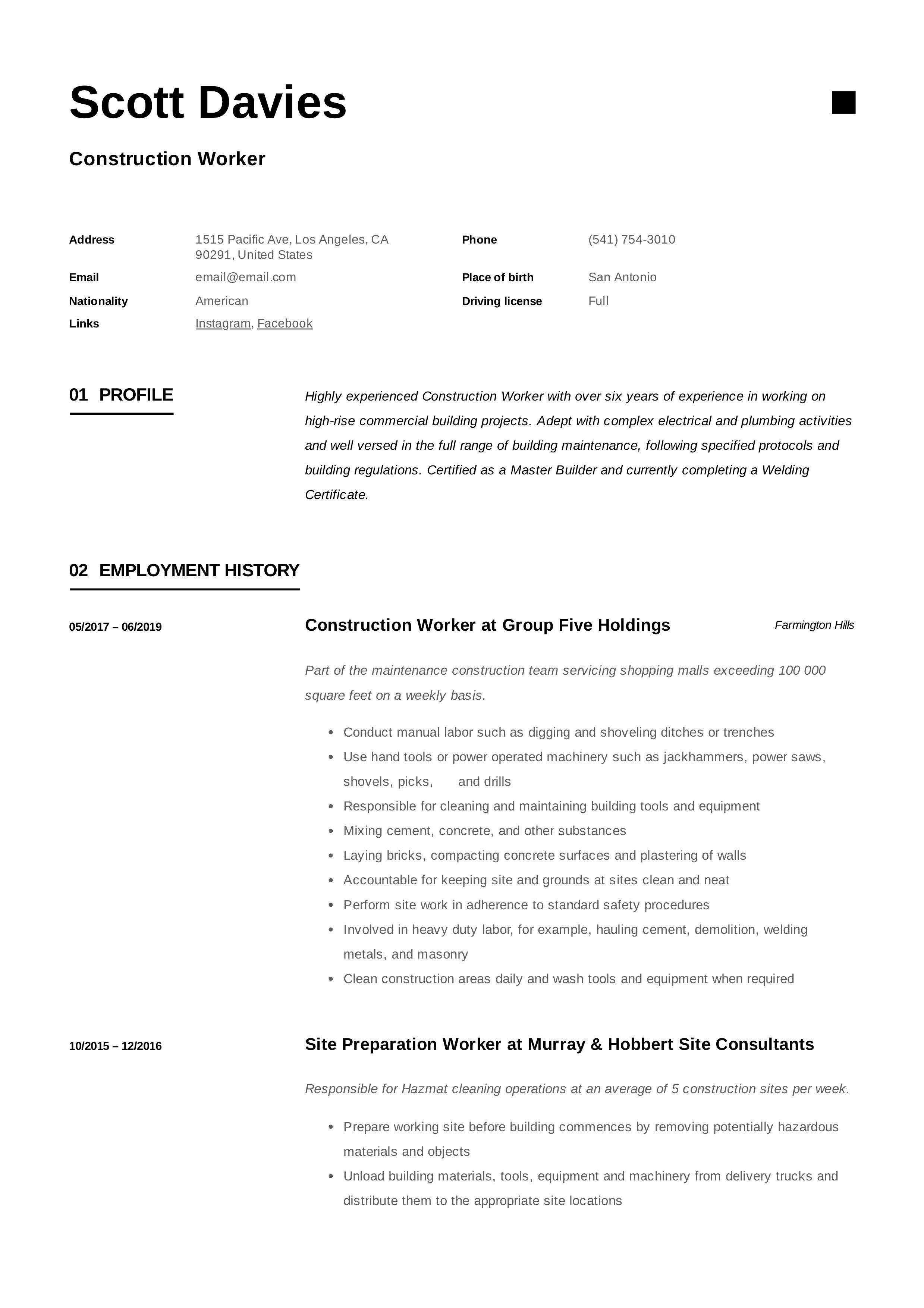 Construction worker resume writing guide 12 templates