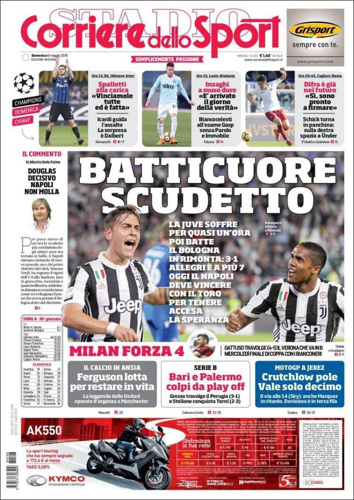 Corriere dello Sport, Italia, domingo 6 de mayo de 2018