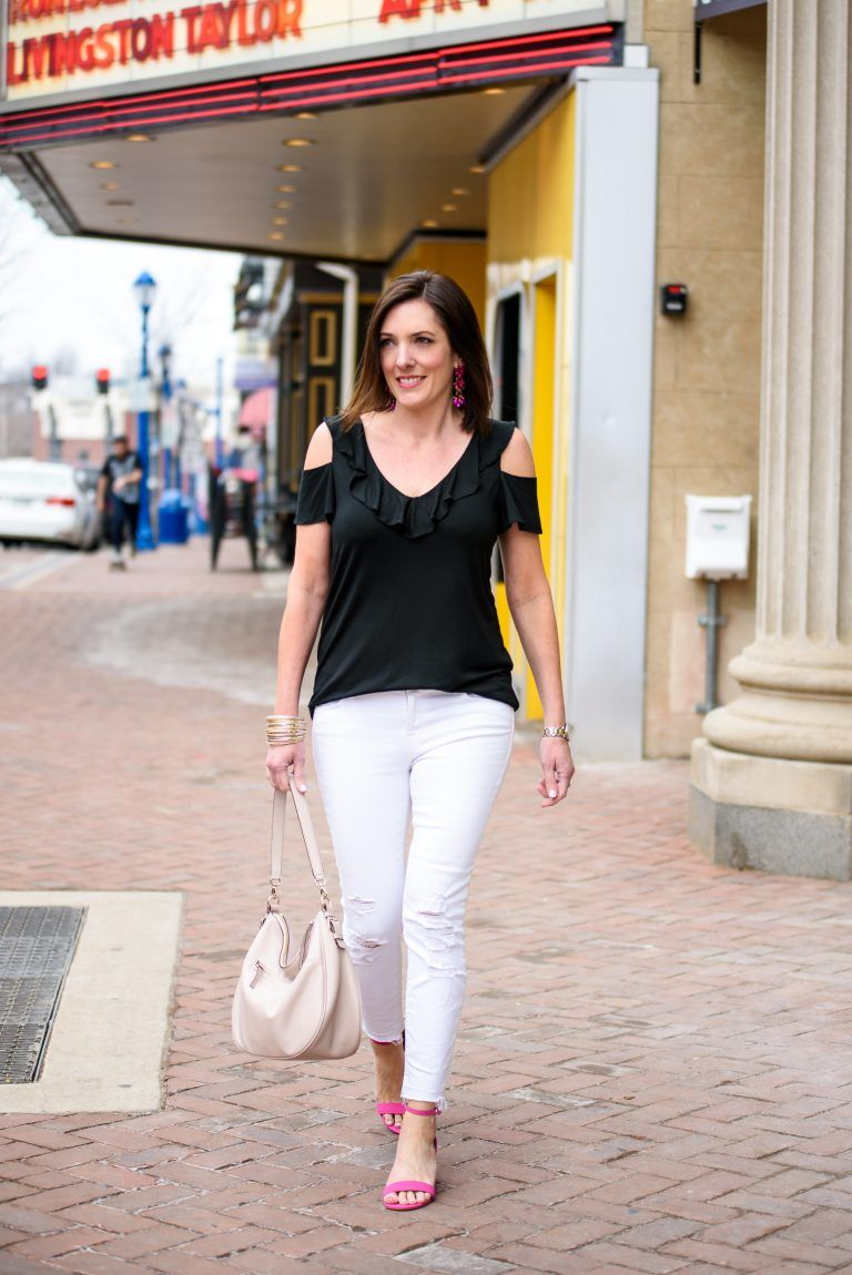 9364f898e70f9 I m date night ready with this black and white outfit featuring a black  Banana Republic cold shoulder ruffle tank