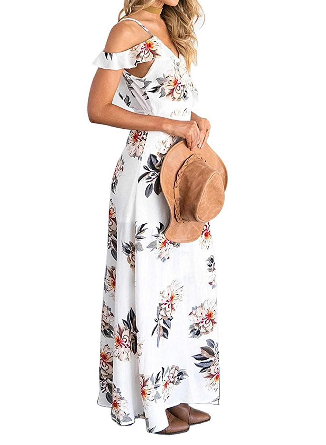dd5ff8f4a04 ZESICA Women s Cold Shoulder Spaghetti Strap Floral Printed Beach Party Maxi  Dress at Amazon Women s Clothing store