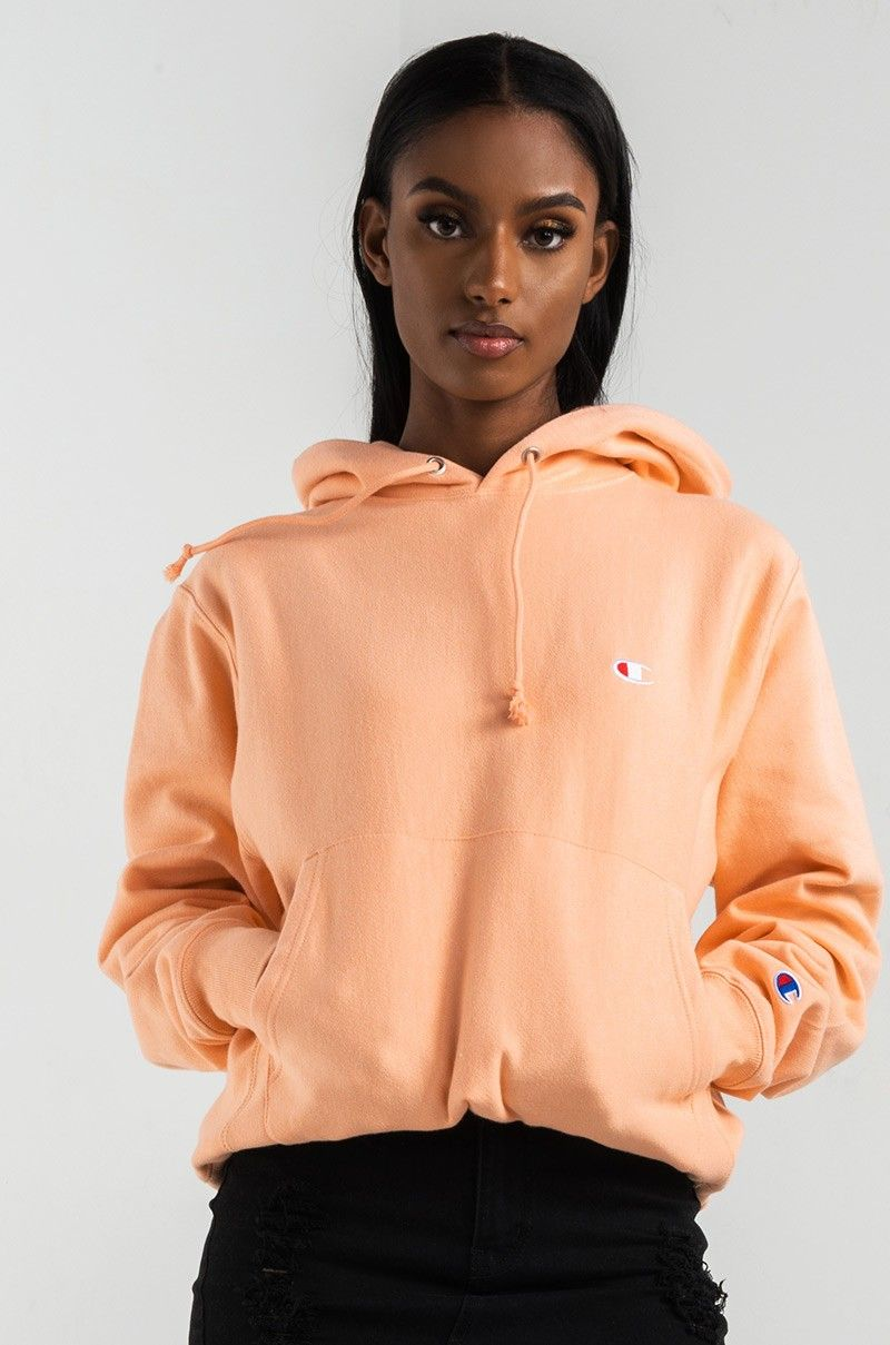 Front View Champion Womens Reverse Weave Pullover Hoodie in Peach ... 9e889a120f