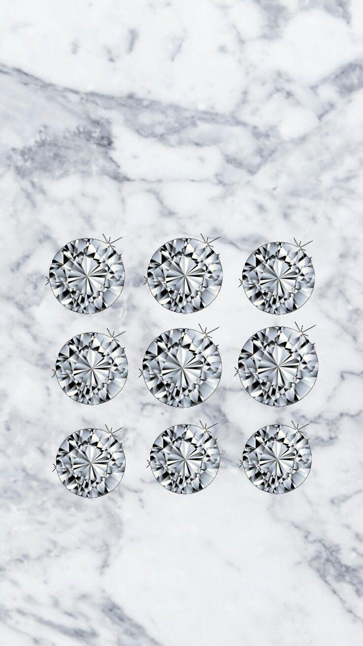 Diamond White Marble Iphone Pattern Lock Screen Wallpaper White