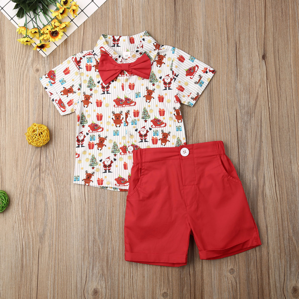 Custom Baby Boys My First 1st Christmas Outfit Set Photo Shoot Prop Shorts Bow