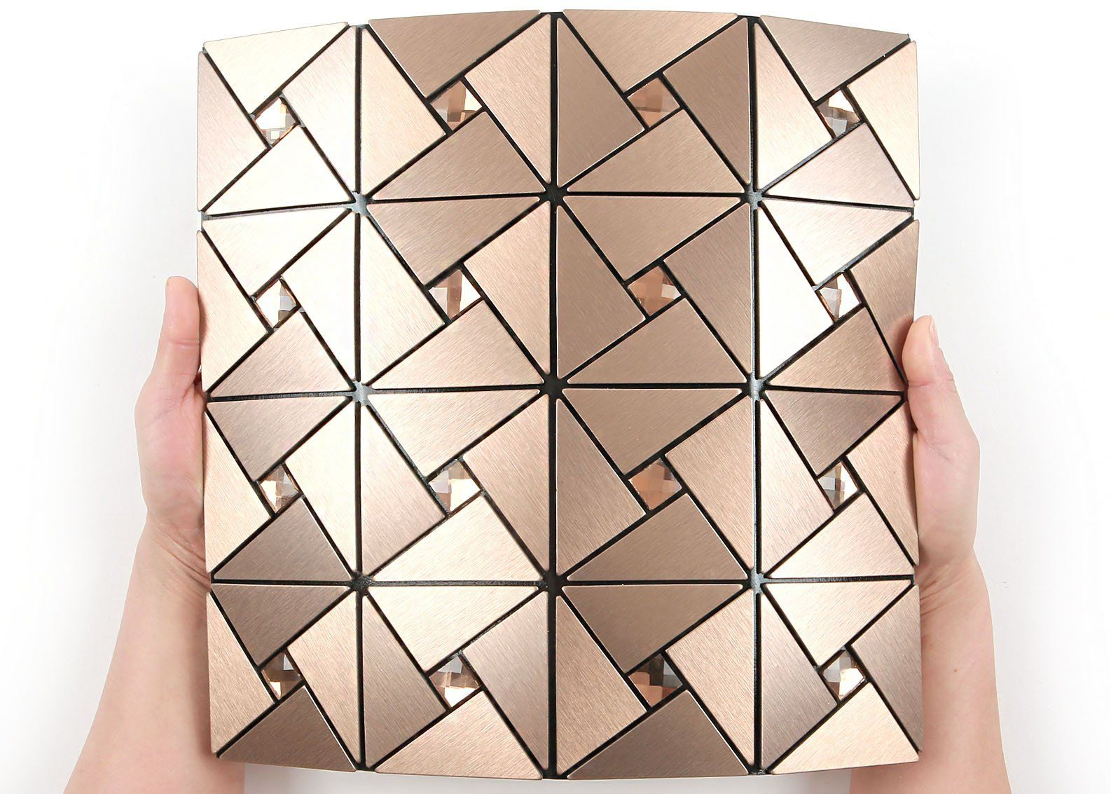 Roserosa Peel And Stick Tile Metal Backsplash For Kitchen Wall Tiles Aluminum Bronze Surface Me Peel And Stick Tile Metal Tile Backsplash Metallic Backsplash