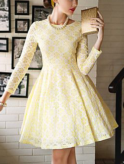 TS VINTAGE Cut Out Embroideried Swing Dress