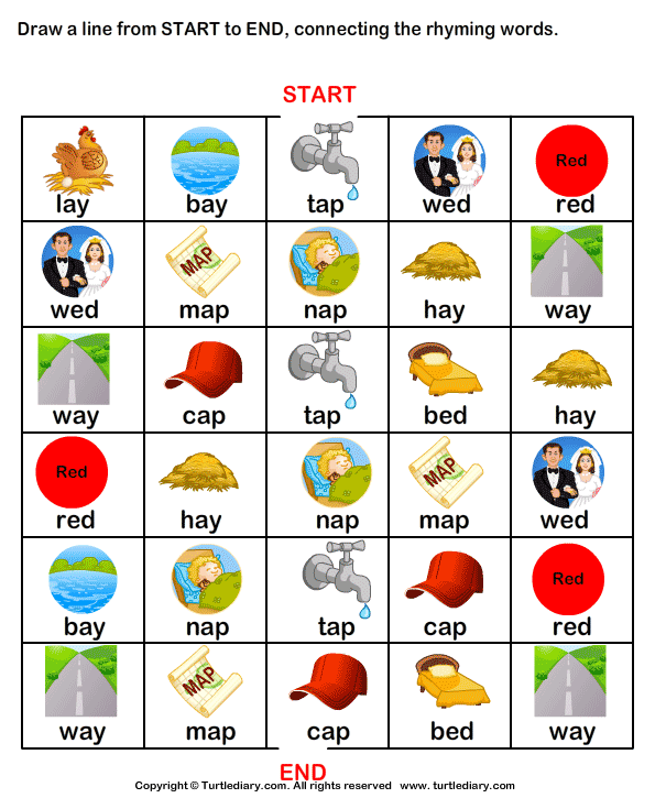 words that rhyme for kindergarten rupsucks printables worksheets