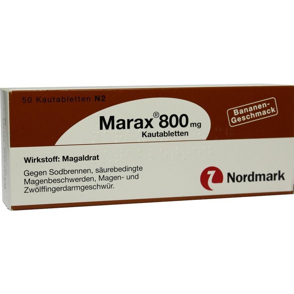 MARAX 800 Kautabletten:   Packungsinhalt: 50 St Kautabletten PZN: 04759271 Hersteller: NORDMARK Arzneimittel GmbH & Co.KG Preis: 5,58 EUR…