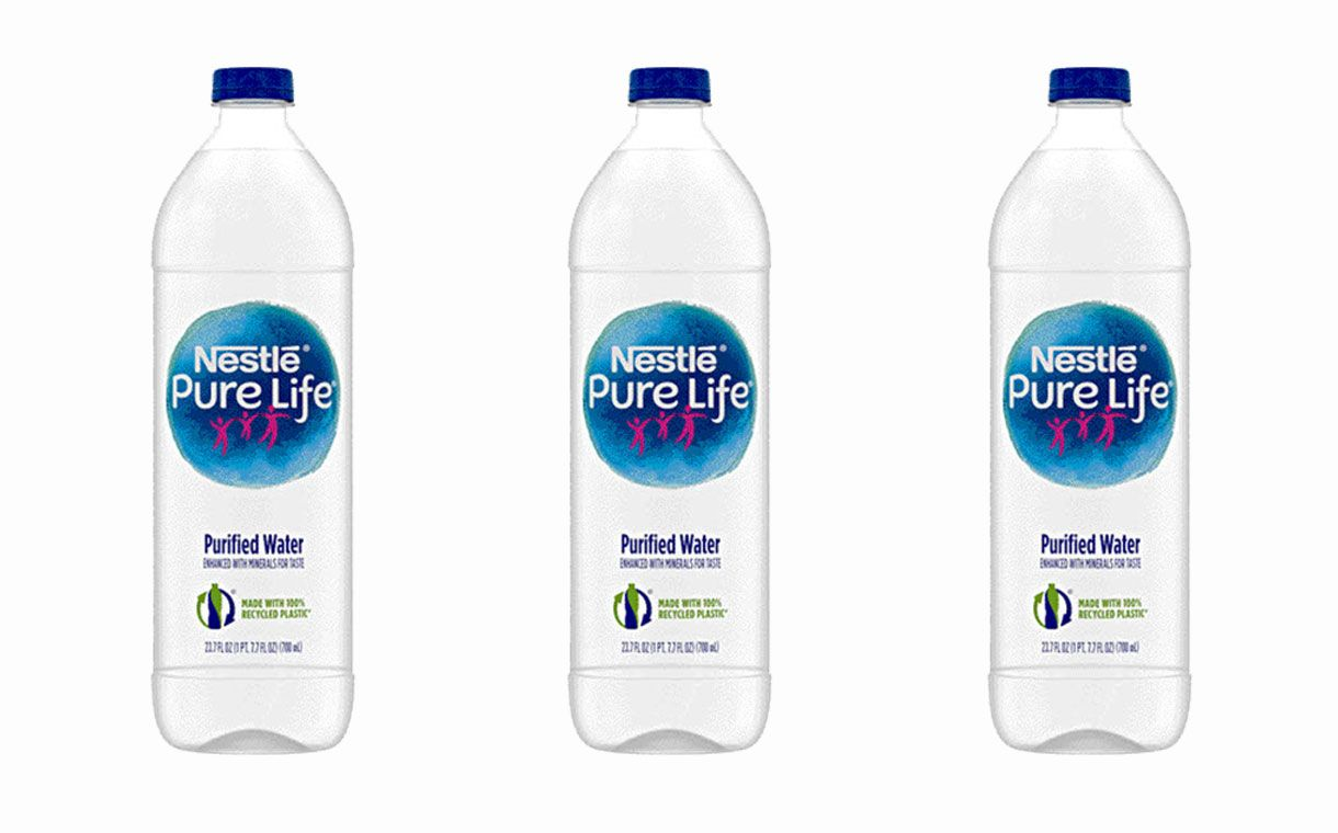 Nestle Promotes Change In Sustainability With New 100 Recycled Plastic Water Bottles Bottle Plastic Water Bottle Water Bottle Design