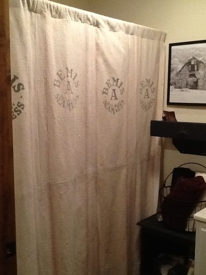 Old Feed Sack Shower Curtain By Mom Talented Mom Home Decor Curtains Feed Sacks