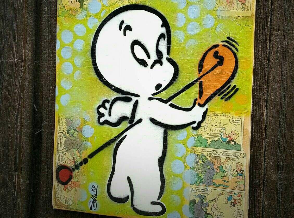 Graffiti art on wood - Casper The Friendly Ghost Original Graffiti Art Painting On Wood Panel Repurposed Ply Wood Vintage Toy Art Cartoon Vintage Comic Book