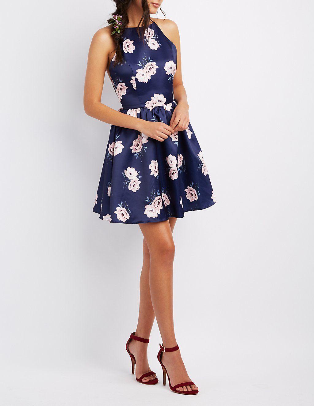 Floral Bib Neck Backless Skater Dress Charlotte Russe Fancy Attire Spring Fling Dress Dresses For Teens [ 1326 x 1024 Pixel ]