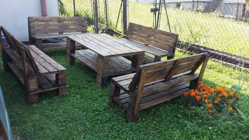 Witam! Sprzedam meble ogrodowe z palet EURO solidnie skręcone wyszlifowane. Cena dotyczy 1 stołu i 2 ławy. Zestawy mogą składać się z większ...136683279