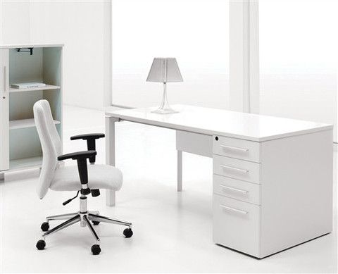 Modern White Lacquer Executive Desk with Drawers – OfficeDesk.com ...