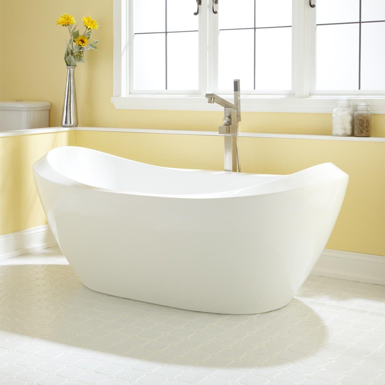 Guest Bathroom Ideas With Pleasant Atmosphere: Acrylic Tub, Bathtub, Air Tub