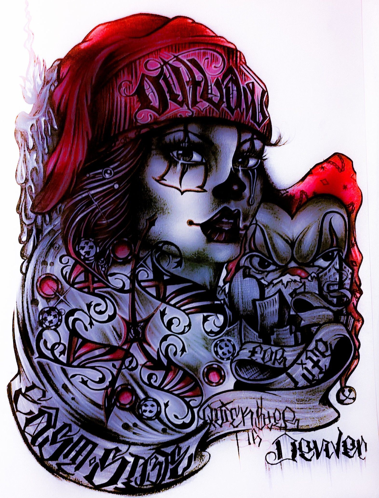 Chicano art comin 39 str 8 outta denver colorado lowrider for Chicano clown girl tattoos