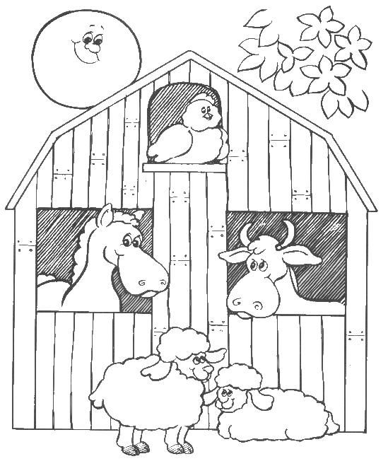 bigredbarncoloringpages barn animals colouring pages - Barns Coloring Pages Farm Silos