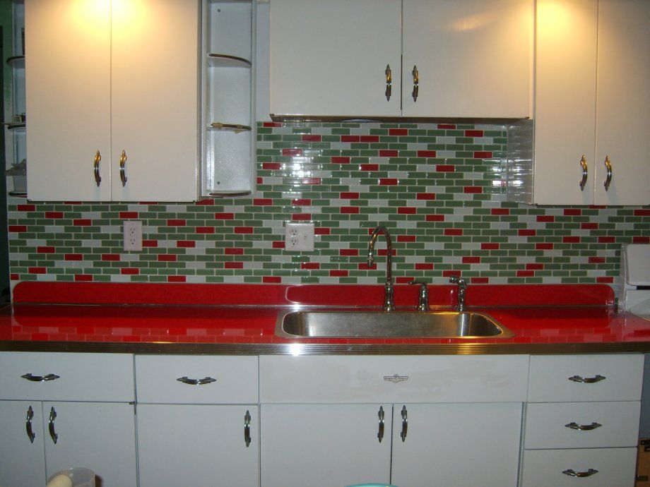 Youngstown Metal Kitchen With Red Countertops