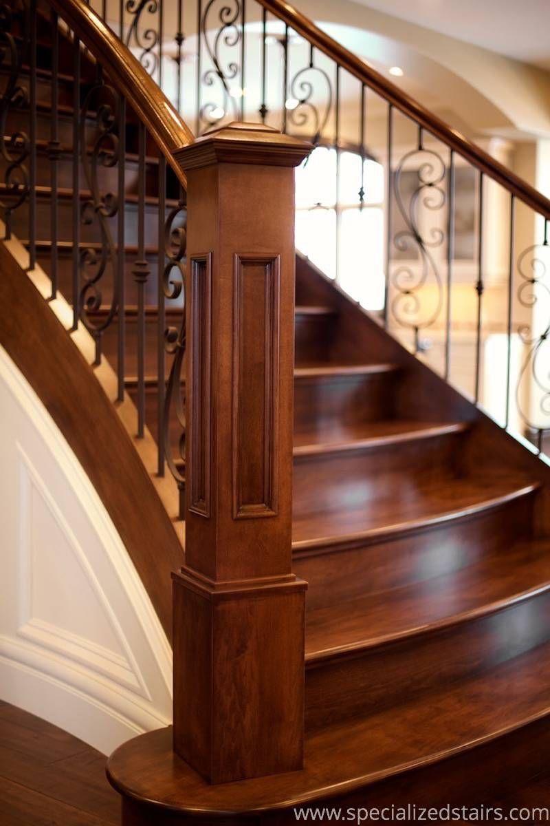 Best Elegant Maple Flare Staircase Remodel Stair Railing 400 x 300