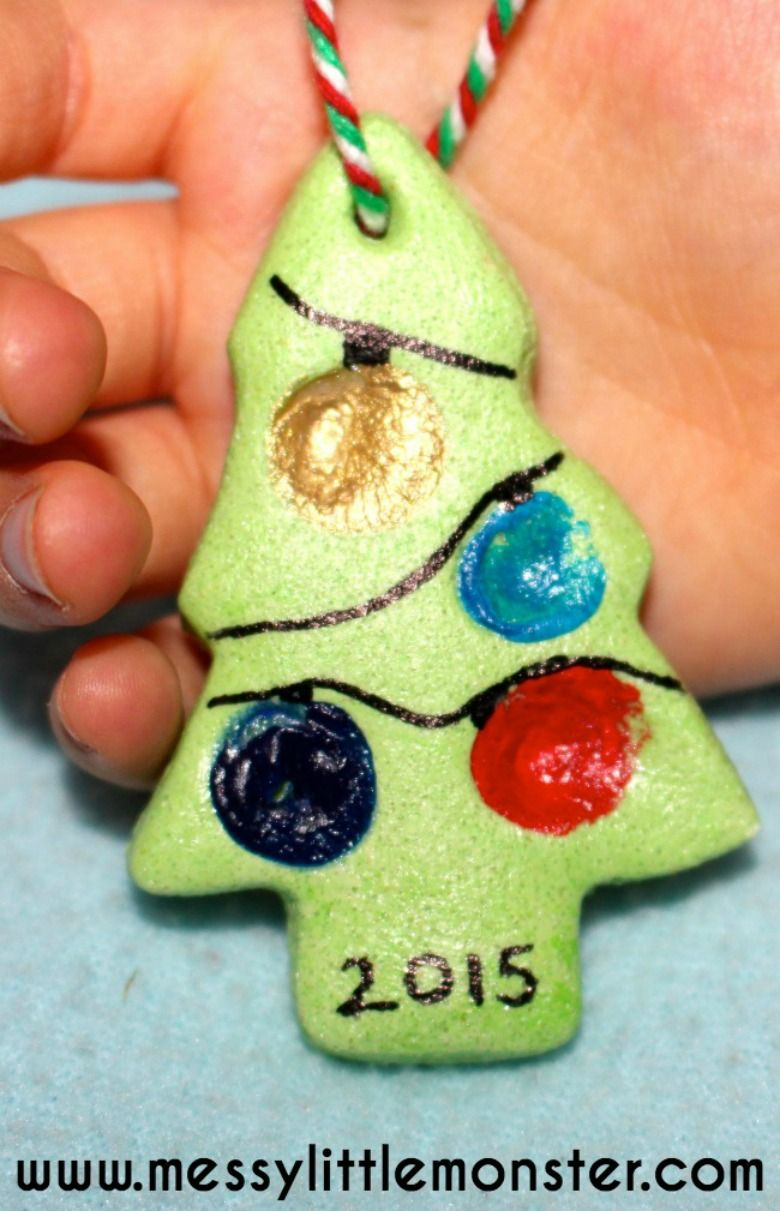 Fingerprint Christmas Tree Salt Dough Ornament Recipe Salt Dough Christmas Decorations Food Ornaments Kids Crafts Ornaments