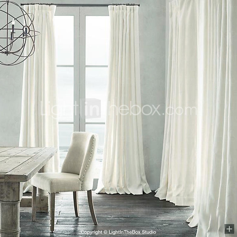 Sala de oscurecimiento de lino natural cortina blanca dos